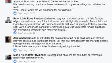 Photo of Efter mordbranden mot IAC i april var det flera personer som uttryckte sitt medlidande med församlingen på moskéns Facebook-sida.